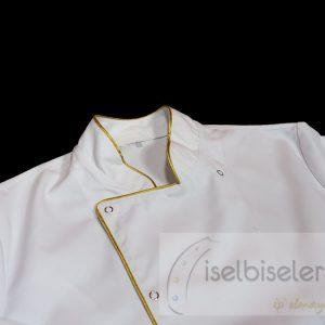 Altın Sarı Biyeli Aşçı Ceketi