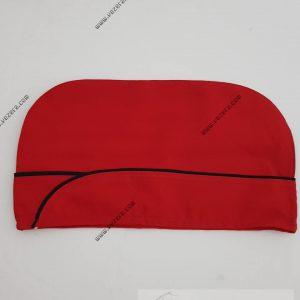Aşçı Kepi Kırmızı Siyah Biyeli