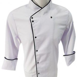 Beyaz Kayık Yaka Aşçı Ceketi - Siyah