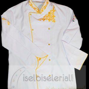 Beyaz Sarı Nakışlı Aşçı Ceketi