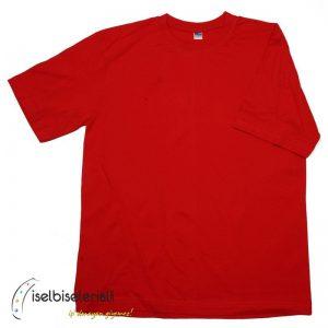 Bisiklet Yaka Tişört - Kırmızı Renk