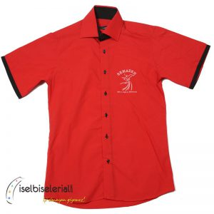 Cafe Gömleği Baskılı Kırmızı