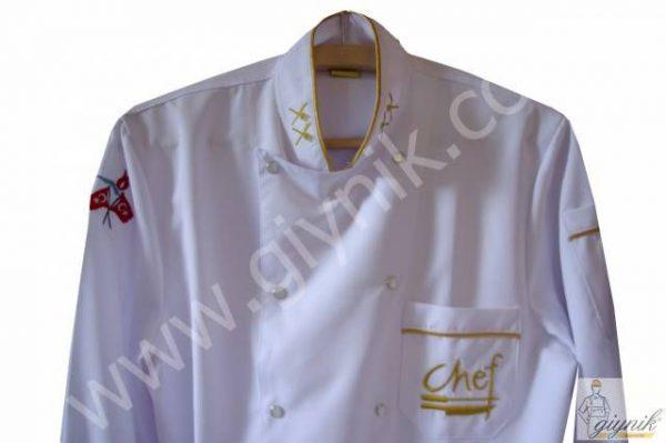 Chef Aşçı - Lale Motifli Beyaz