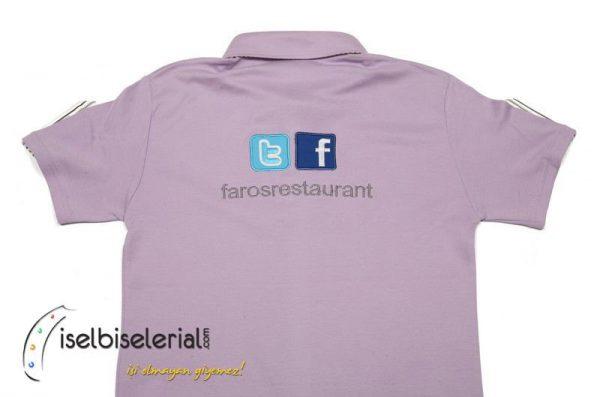 Gömlek Yakalı Lila T-shirt