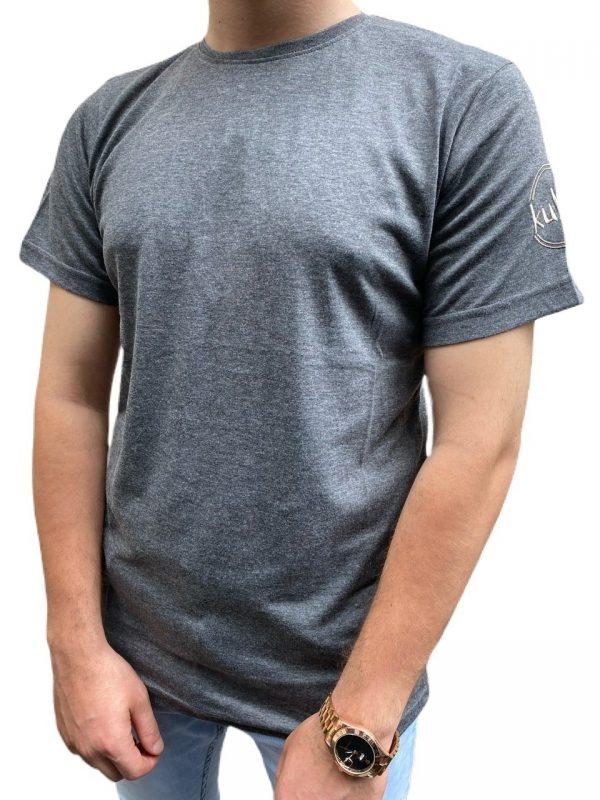 Gri iş Tişörtü Ön ve Arka Nakışlı
