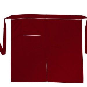 Kırmızı Yarım Önlük Beyazlı Tek Cepli