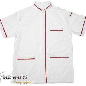 Kısa Kollu Kırmızı Biyeli Aşçı Ceketi