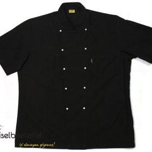Kısa Kollu Siyah Sade Aşçı Ceketi