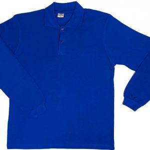 Sax mavi Uzun Kol Polo yaka Tişört 1. Kalite