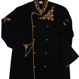 Siyah Sarı Motif Nakışlı Aşçı Ceketi