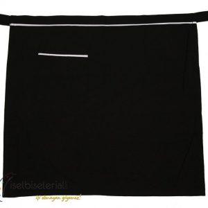 Siyah Yarım Önlük Beyazlı Tek Cepli