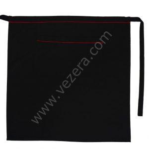 Siyah Yarım Önlük kırmızılı Tek Cepli