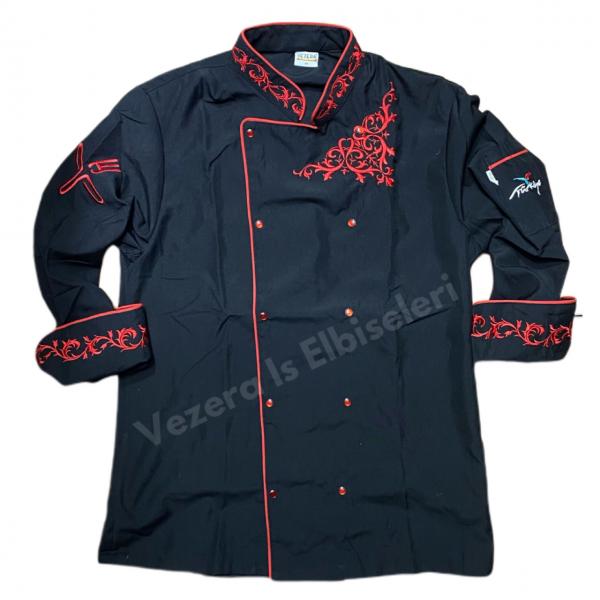 Siyah kırmızı nakışlı Ceket