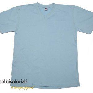V Yaka Tişört - Açık Mavi