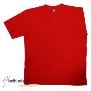 V Yaka Tişört - Kırmızı